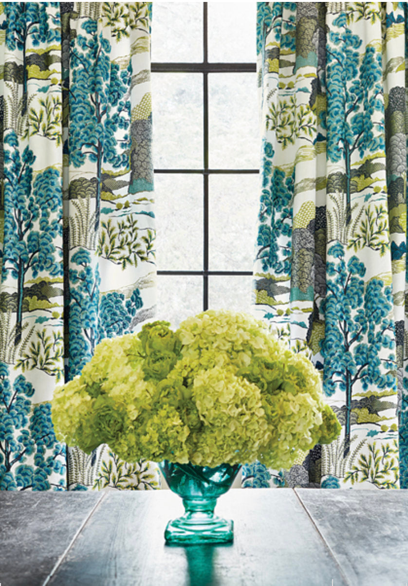 THIBAUT CURTAINS thibaut DAINTREE fabric oriental curtains blue green curtains blue green curtains thibaut drapes oriental drapes asian pink