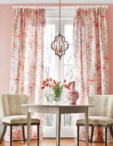 Pink CHINOISERIE curtains pink jacobean curtains THIBAUT Giselle curtains coral curtain panels jacobean drapes pink oriental curtains floral