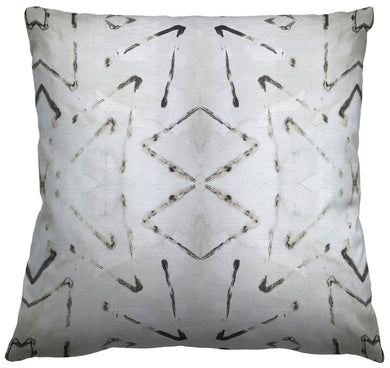 Tribal Gray Grey Black and Ivory Pillow Cotton or Belgian Linen Throw Pillow