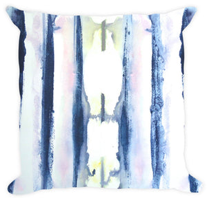 "Designer Navy Blue White Pink Blue Pillow Cotton or Linen Throw Pillow, Accent Pillow ""Delano"""