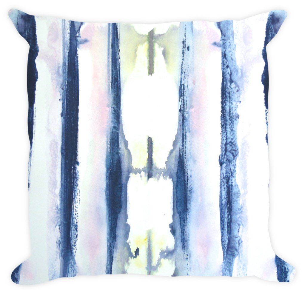 Designer Navy Blue White Pink Blue Pillow Cotton or Linen Throw Pillow, Accent Pillow