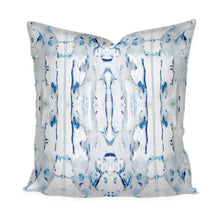 "Painterly Pillow Cover Blue Navy Watercolor White Cotton Linen Throw Pillow Accent Pillow ""Lago"" Ink Splotch Painted Lumbar Long Lumbar"
