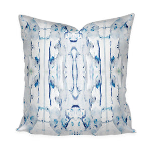 "Designer Blue Navy Watercolor White Cotton Linen Throw Pillow Accent Pillow ""Lago"" Ink Splotch Painted Lumbar Long Lumbar"