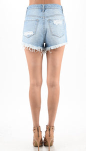 Distressed Light Shorts