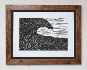 'Waimea' Original Woodcut Print (framed)