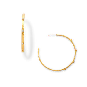 Julie Vos Crescent Stone Hoop Earrings