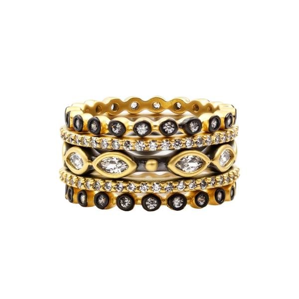 Freida Rothman Signature Marquise Station 5 Stack Ring