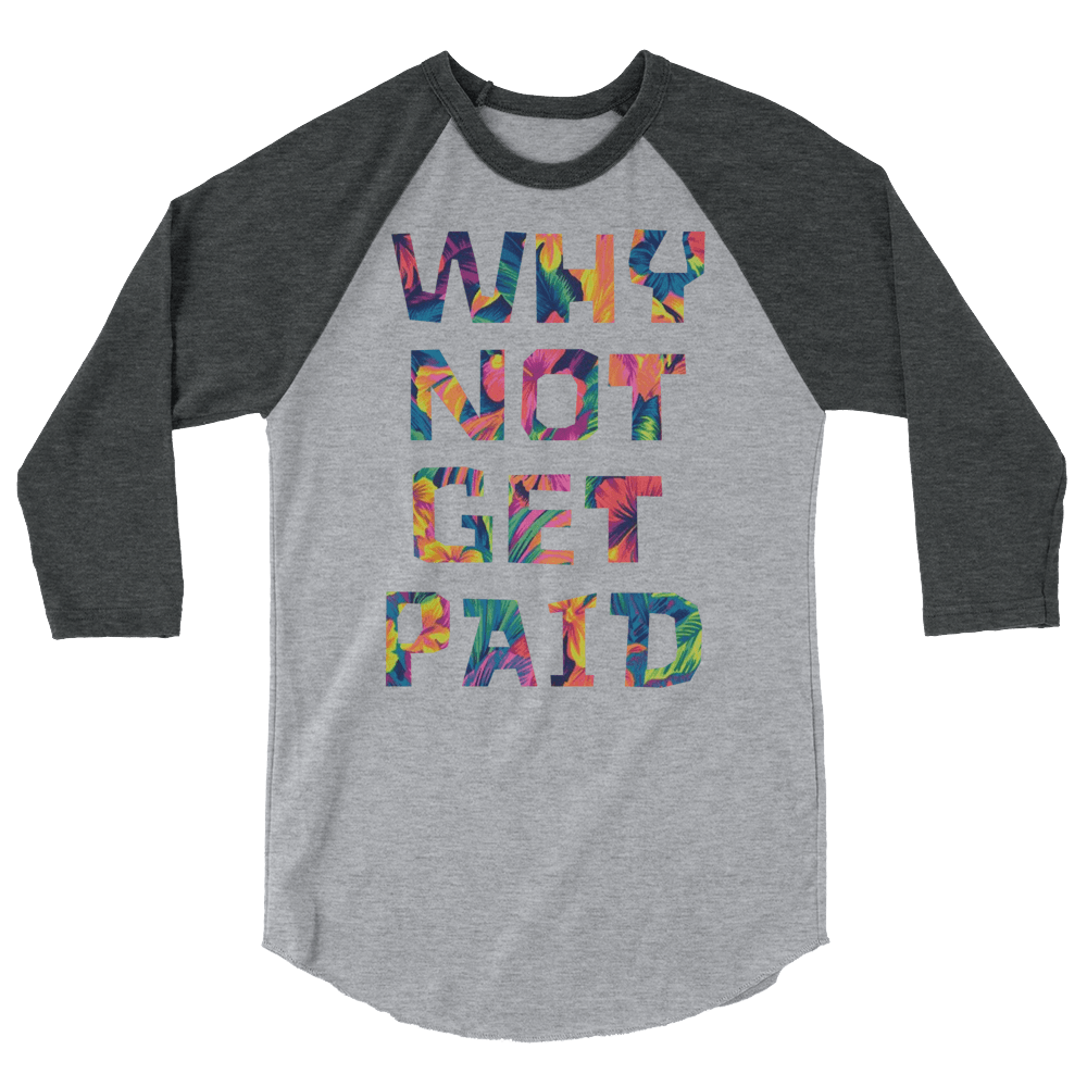 Why Not Get Paid Color Trap Baseball shirt Colortrap WhyNotGetPAidFashion Heather Grey/Heather Charcoal XS