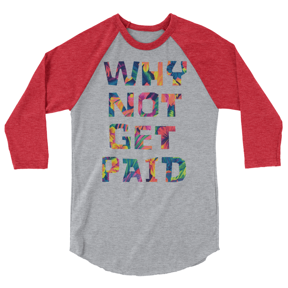 Why Not Get Paid Color Trap Baseball shirt Colortrap WhyNotGetPAidFashion Heather Grey/Heather Red XS