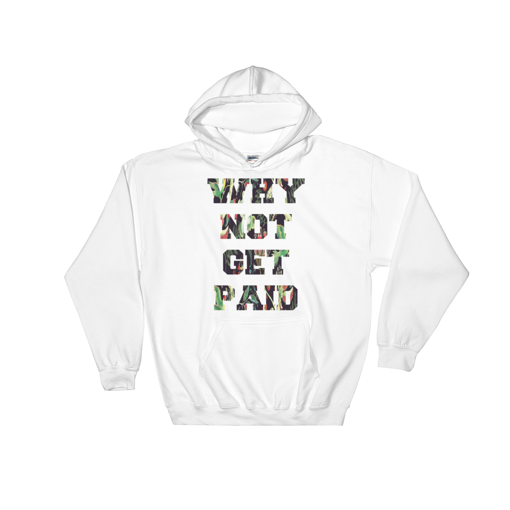 Why Not Get Paid Jungle Tec Hooded Sweatshirt JungleTec WhyNotGetPAidFashion White S