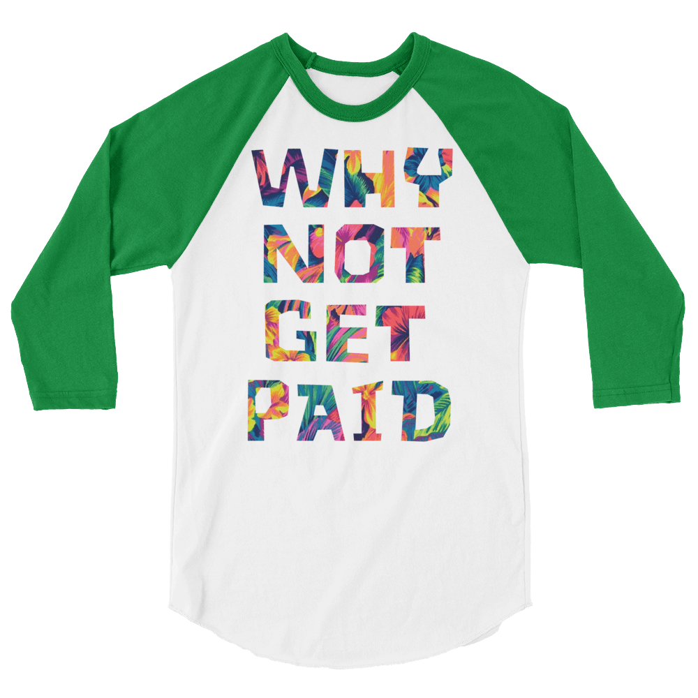 Why Not Get Paid Color Trap Baseball shirt Colortrap WhyNotGetPAidFashion White/Kelly XS
