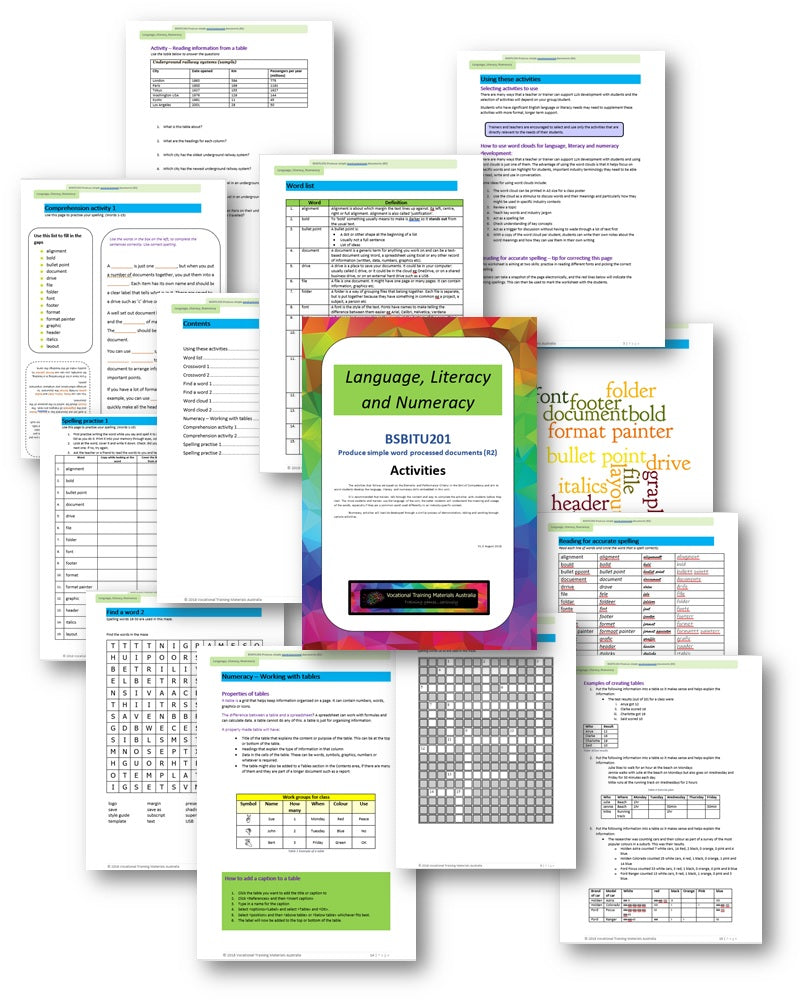 BSBITU201 Produce simple word processed documents - Language, Literacy and Numeracy activities