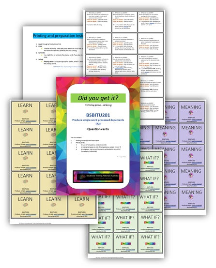 BSBITU201 Produce simple word processed documents - Question cards
