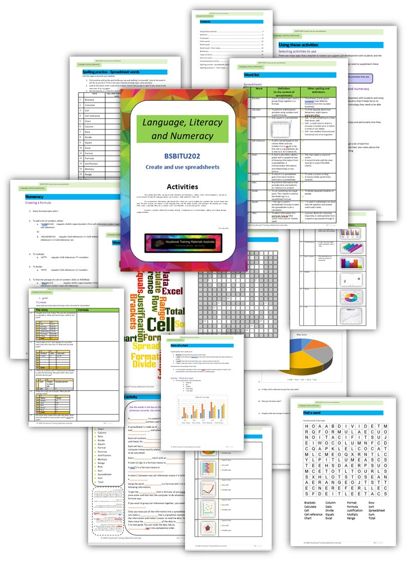 BSBITU202 Create and use spreadsheets - Language, Literacy and Numeracy activities