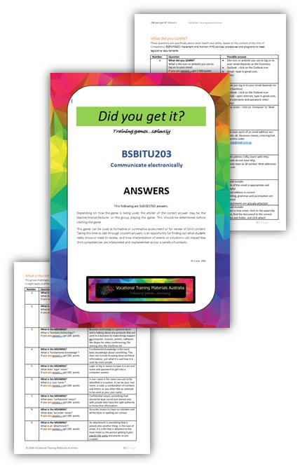 BSBITU203 Communicate electronically - ANSWERS
