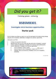 BSBSMB301 Investigate micro business opportunities - STARTER pack