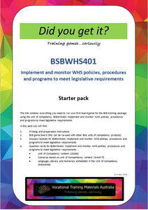 BSBWHS401  Implement and monitor WHS policies... STARTER pack