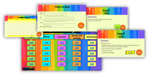 CHCLEG001 Work legally and ethically - Quiz game
