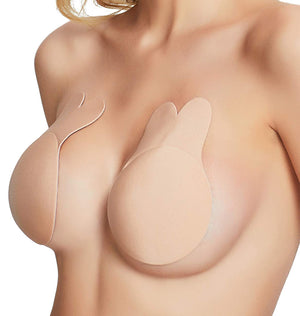 406N MAGIC CURVES REUSABLE BREAST LIFT PASTIES BUNNY EARS AVAILABLE IN BLACK OR NUDE (1 Dozen Wholesale Price)
