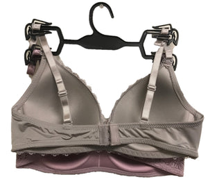 MAGIC CURVES WIRE FREE 2 FOR 1 LACE BRA (LAVENDER & GREY)  (16 Bras Per Pack Wholesale Price)