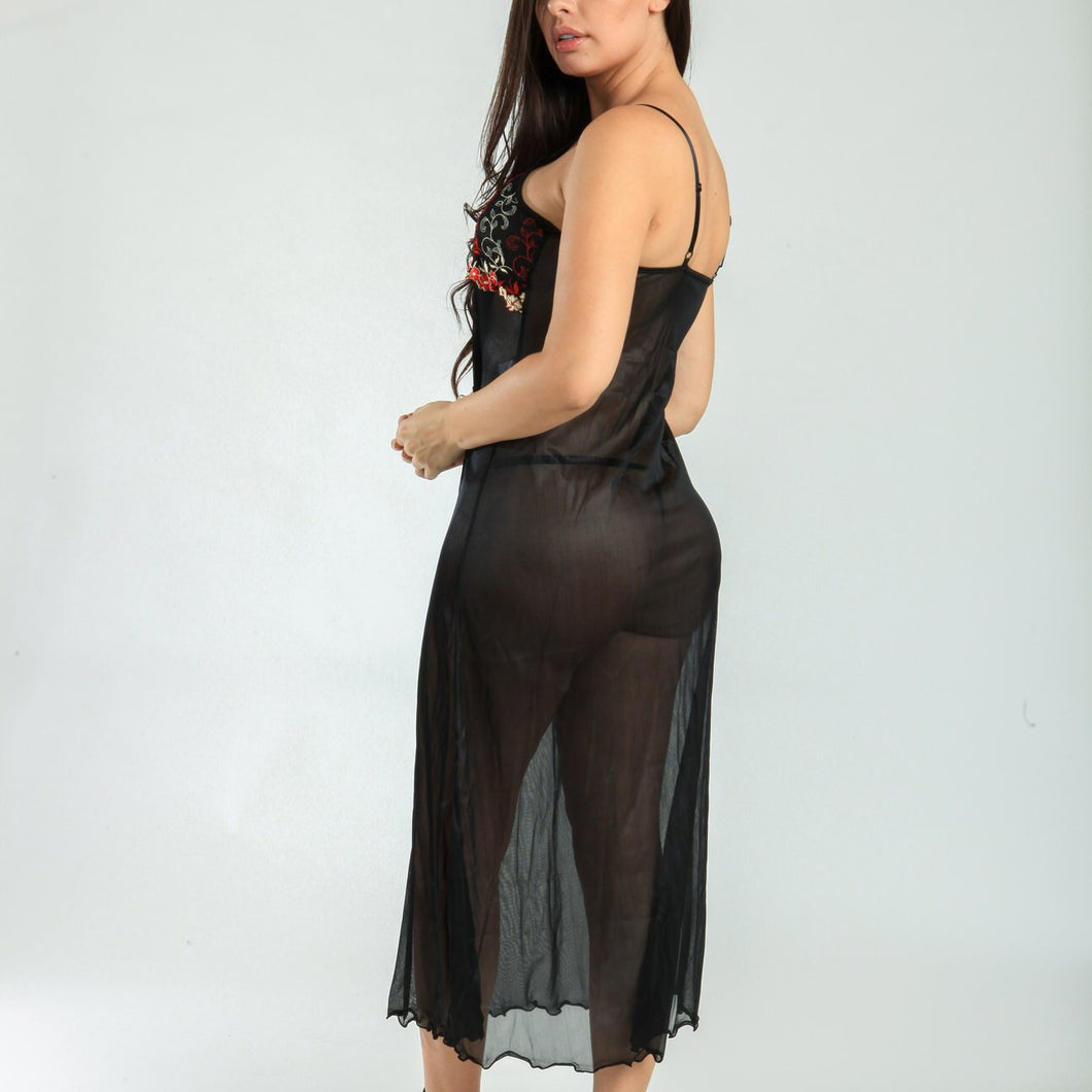 MAGIC CURVES SEXY EMBROIDERED LINGERIE MAXI