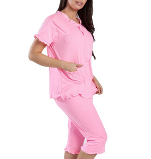 MAGIC CURVES CUTE PINK DOTS CAPRI PAJAMA SET (6pcs Wholesale Price)