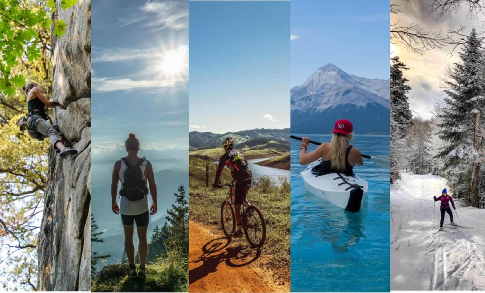 5 lifstyle photos that feature rock climbing hiking cycling kayaking cross country skiing