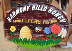 Harmony Hills Honey Oval Wooden Sign