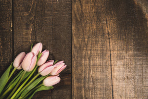 pink tulips on wood