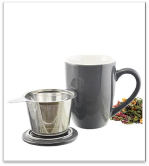 Grey Kassel Ceramic Infuser Mug with adjacent grey lid and stainless steel infuser