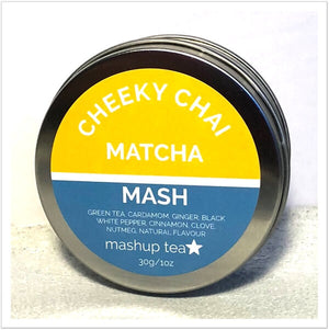 round tin containing mashup teas cheeky chai green tea matcha powder
