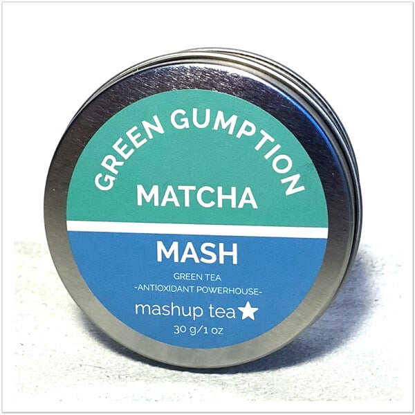 mashup teas green gumption matcha powder ingredients and powder split screen
