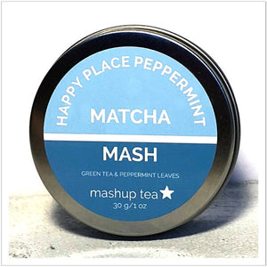 round tin containing mashup teas happy place peppermint matcha