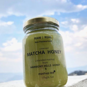 175g glass jar of green matcha honey from mashup tea and harmony hills honey