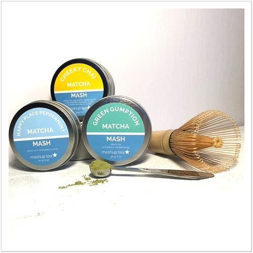 mashup teas matcha mashbox collection with 3 matcha tins a bamboo chasen and perfect measuing spoon