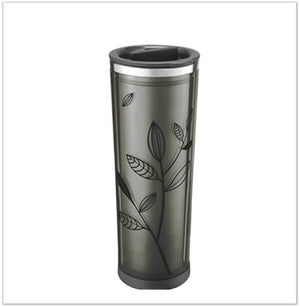 Takeya Leaf Pattern Tea Tumbler, Black/Black, 16oz