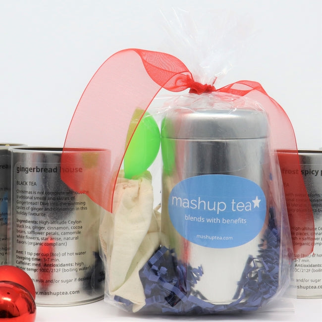 Holiday Blend Tea Tin with Reusable Cotton Teabag & Teaspoon