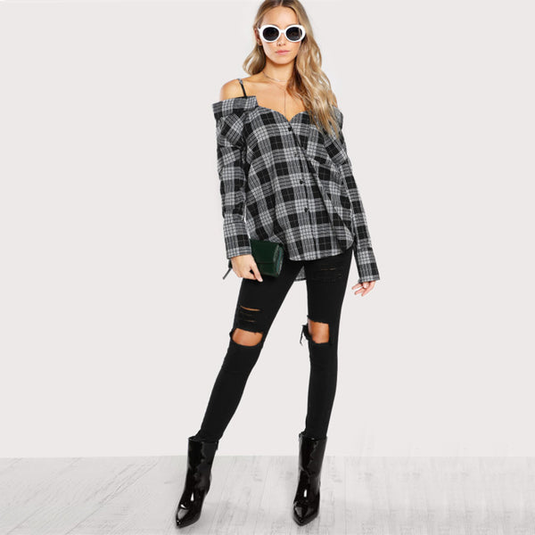 Peekaboo Plaid Blouse