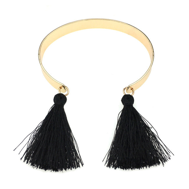 Double Tassel Charm Bangle