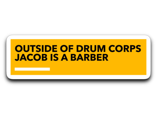 Jacob Is A Barber Sticker - Marching Band Gear