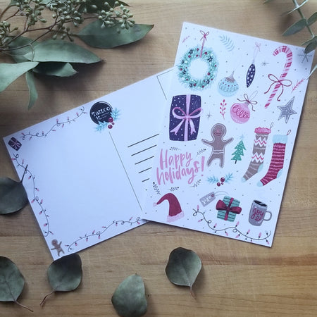 1 or 3  happy holidays postcard 4X6