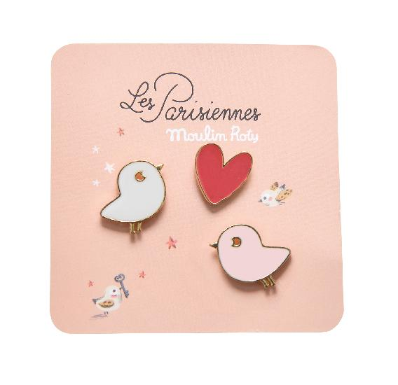 Parisiennes - Birds Laquered Pins ( set of 3 ) - Moulin Roty