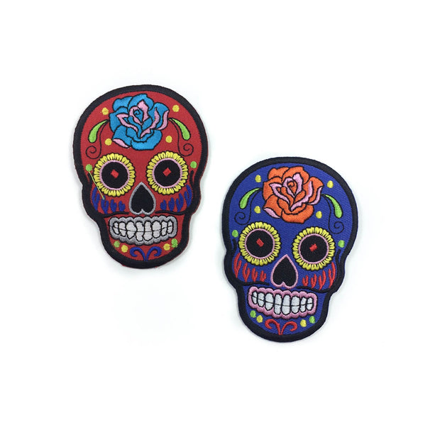 sugar skull iron-on patch