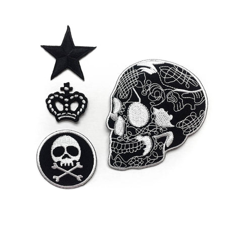 Sugar skull set iron-on patch