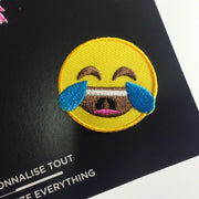 emoji laugh iron-on patch