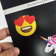 emoji love iron-on patch