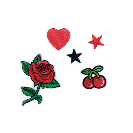 Red Rose Patches for jacket (Set of 5)