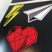 Geometric Patch Set #2 (3 patches) - Heart, Airplane, Lightning