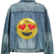 Emoji patch on jacket