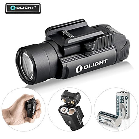 Olight Bundle PL-2,PL2, pl ii Valkyrie 1200 Lumen rail mounted compact pistol light with 2 x cr123a batteries handgun weapon light flashlight for glock,s&w, sig sauer, beretta with patch